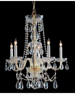 Crystorama 1125-PB-CL-S Traditional Crystal 5 Light Chandelier