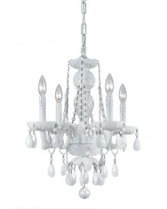 Crystorama 4 Light White Colored Hand Polished Mini chandelier with Wet White finish - 1074-WW-WH-MWP