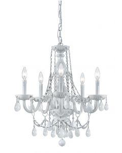 Crystorama 6 Light White Colored Hand Polished Mini chandelier with Wet White finish - 1076-WW-WH-MWP
