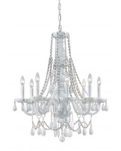 Crystorama 8 Light White Colored Hand Polished chandelier with Wet White finish - 1078-WW-WH-MWP
