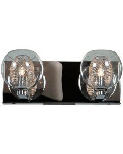 Access Lighting 52082LEDDLP-CH/CLR Aeria 2 Light LED Metal Foil in Glass Vanity