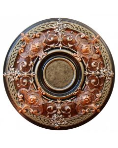 FAD Hand Painted Ceiling Medallion, 28 1/8 in. Finished in Antique Copper, Ivy and Copper Penny (LPCCMF-035-3)