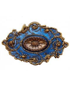 FAD Hand Painted Ceiling Medallion,20 x 30 1/2 in. Finished in Bronze, Gold and Venetian Blue(LPCCMF-094)