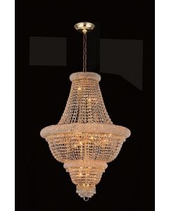 Lighting Paradise ILF1017/12L Gold 12 Light Hanging 24K Gold Plated Crystal Fixture
