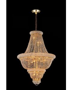 Lighting Paradise ILF1017/18L Gold 18 Light Hanging 24K Gold Plated Crystal Fixture