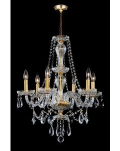 Lighting Paradise ILF2030/6L Gold Hanging 6 Light Gold Chandelier with LED Bobeches